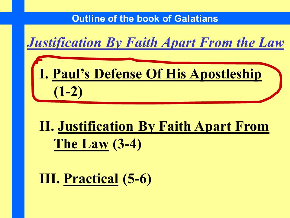 Outline of the book of Galatians Justification By Faith Apart From the Law I.