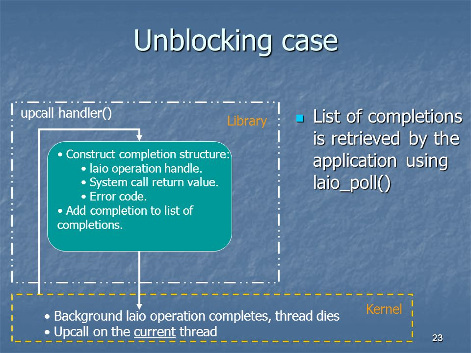 23 Unblocking case List of completions is retrieved by the application using laio_poll() List of completions is retrieved by the application using laio_poll() Background laio operation completes, thread dies Upcall on the current thread Kernel upcall handler() Construct completion structure: laio operation handle.