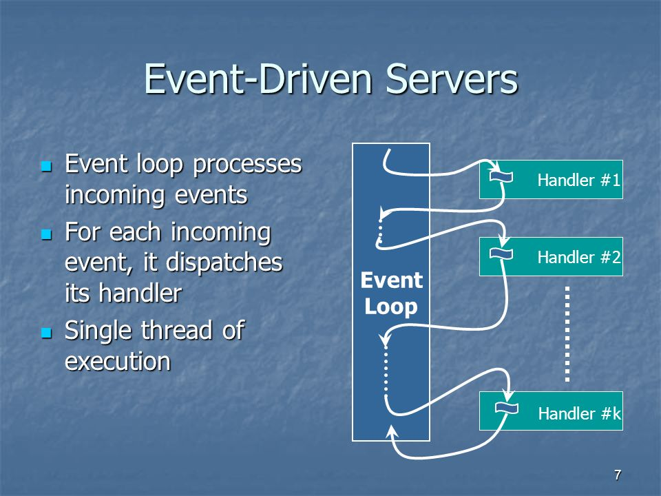 7 Event-Driven Servers Event loop processes incoming events Event loop processes incoming events For each incoming event, it dispatches its handler For each incoming event, it dispatches its handler Single thread of execution Single thread of execution Event Loop Handler #1 Handler #2 Handler #k