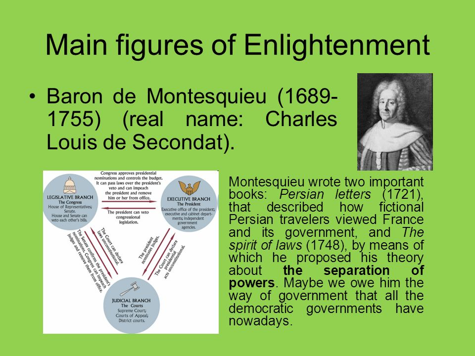 Main figures of Enlightenment Baron de Montesquieu (1689- 1755) (real name: Charles Louis de Secondat).
