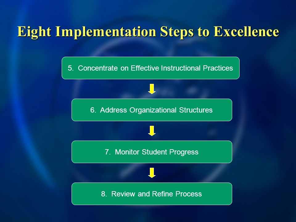Eight Implementation Steps to Excellence 6. Address Organizational Structures 7.
