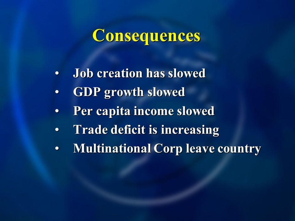 Consequences Job creation has slowedJob creation has slowed GDP growth slowedGDP growth slowed Per capita income slowedPer capita income slowed Trade deficit is increasingTrade deficit is increasing Multinational Corp leave countryMultinational Corp leave country