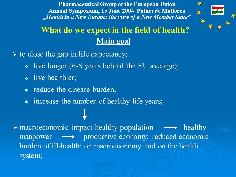 Pharmaceutical Group of the European Union Annual Symposium, 15 June 2004 Palma de Mallorca Health in a New Europe: the view of a New Member State What do we expect in the field of health.
