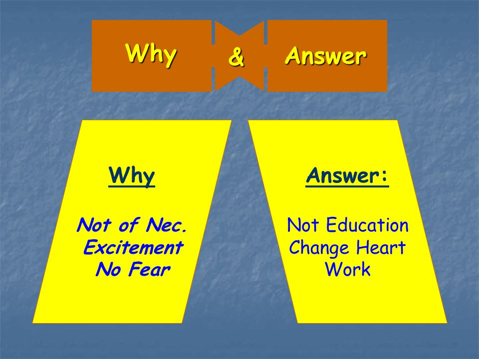 Why Answer & Why Not of Nec. Excitement No Fear Answer: Not Education Change Heart Work