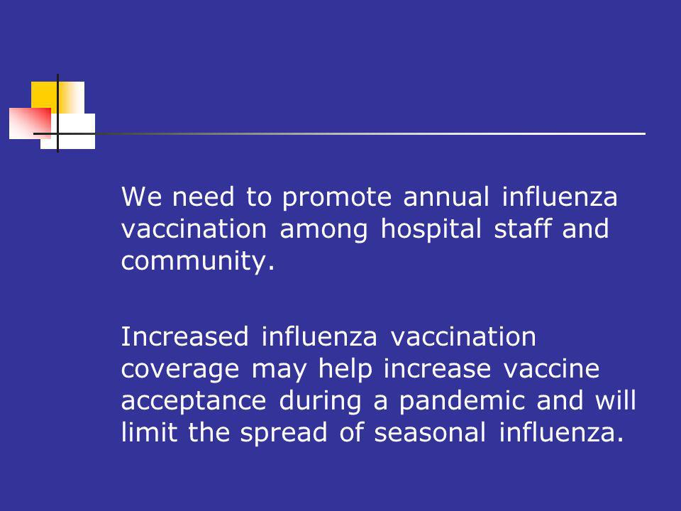 We need to promote annual influenza vaccination among hospital staff and community.