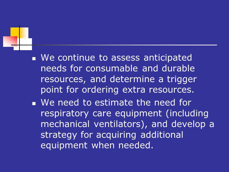 We continue to assess anticipated needs for consumable and durable resources, and determine a trigger point for ordering extra resources.