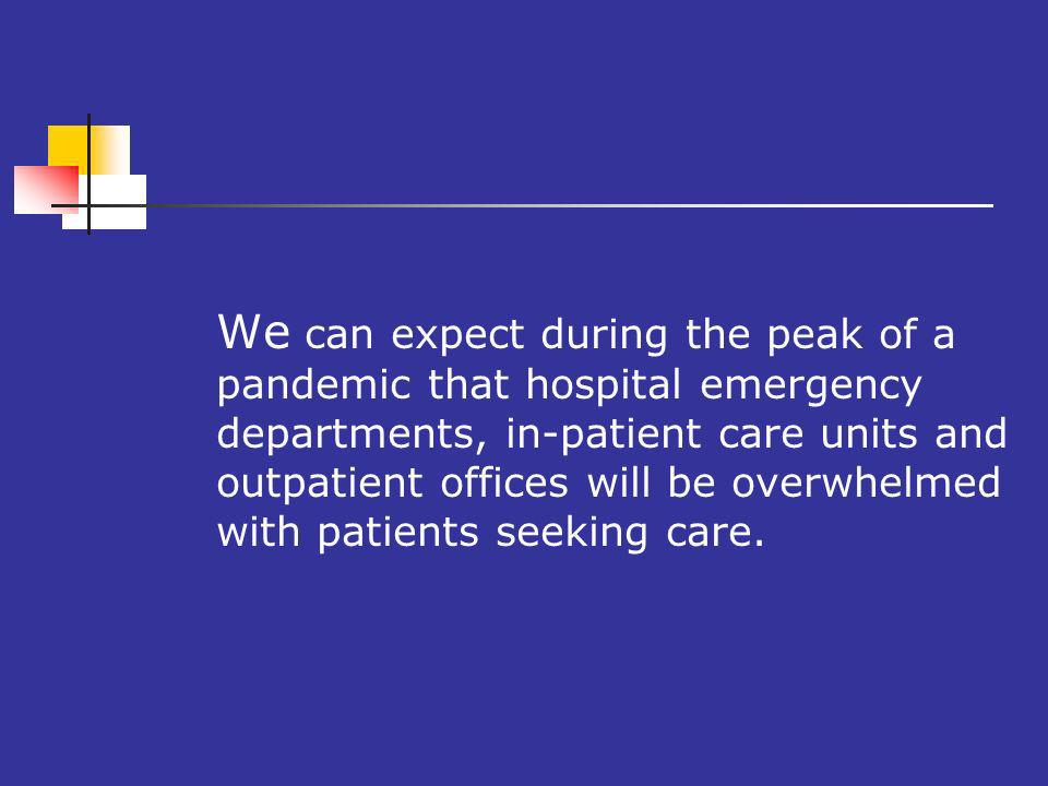 We can expect during the peak of a pandemic that hospital emergency departments, in-patient care units and outpatient offices will be overwhelmed with patients seeking care.