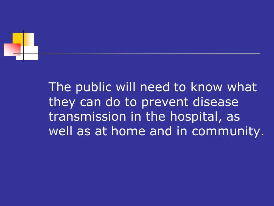 The public will need to know what they can do to prevent disease transmission in the hospital, as well as at home and in community.