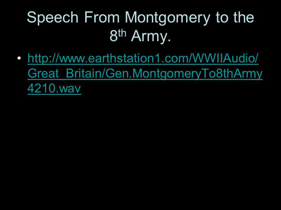 Speech From Montgomery to the 8 th Army.