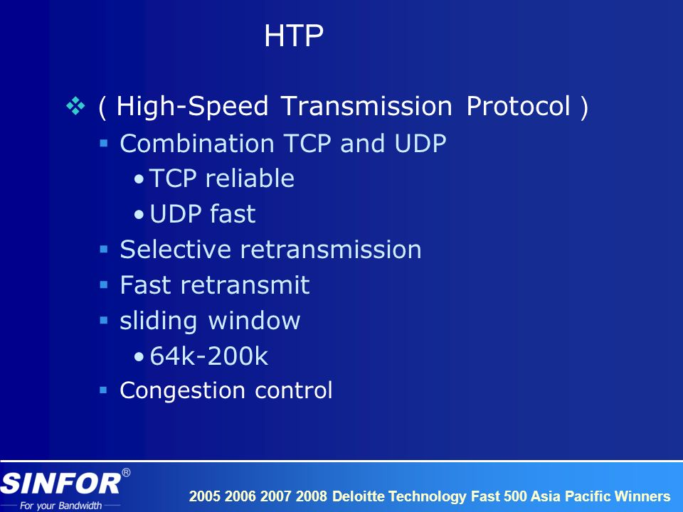 2005 2006 2007 2008 Deloitte Technology Fast 500 Asia Pacific Winners HTP High-Speed Transmission Protocol Combination TCP and UDP TCP reliable UDP fast Selective retransmission Fast retransmit sliding window 64k-200k Congestion control