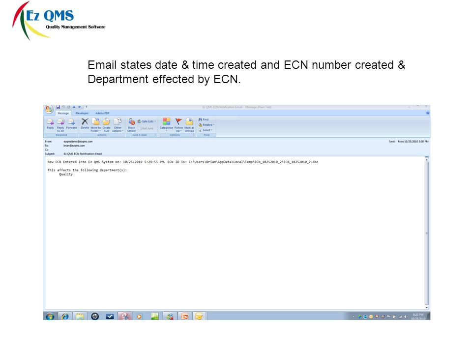 states date & time created and ECN number created & Department effected by ECN.