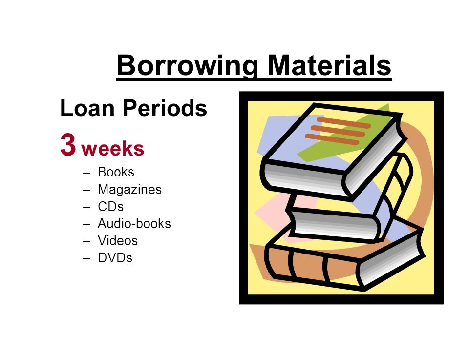 Borrowing Materials Loan Periods 3 weeks –Books –Magazines –CDs –Audio-books –Videos –DVDs