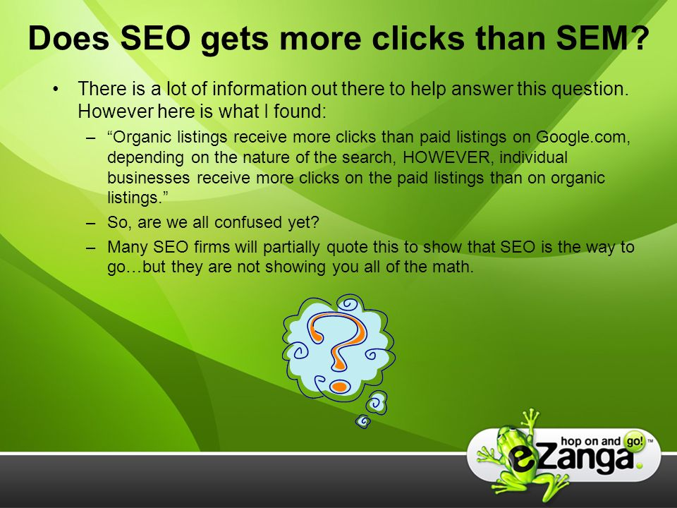 Does SEO gets more clicks than SEM.
