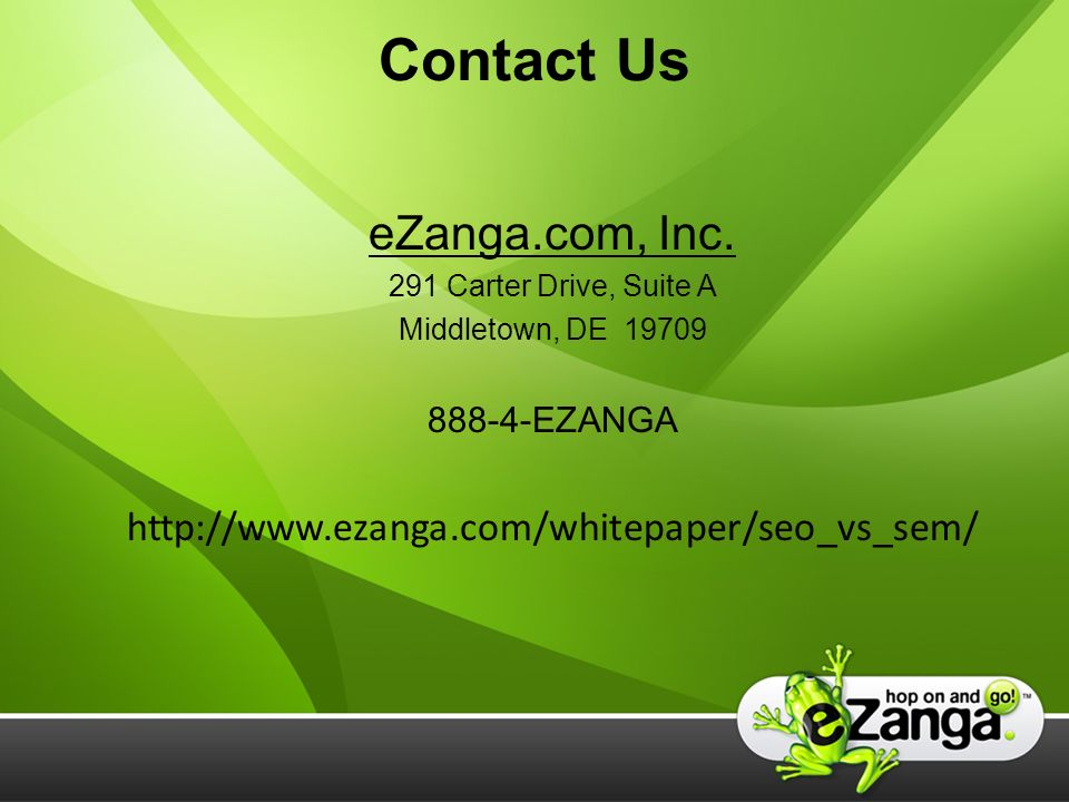 Contact Us eZanga.com, Inc.