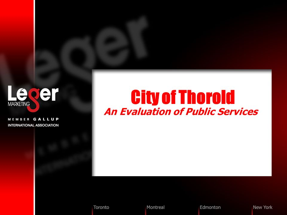 City of Thorold An Evaluation of Public Services