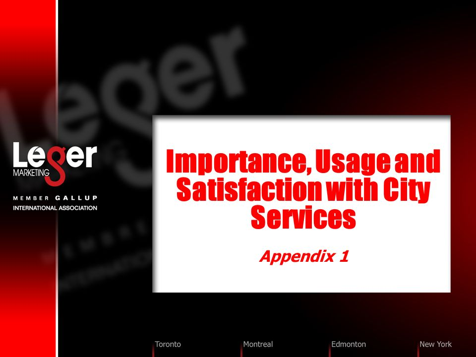 Importance, Usage and Satisfaction with City Services Appendix 1