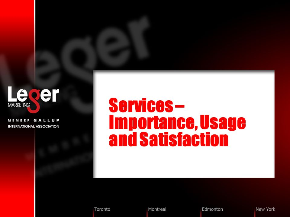 Services – Importance, Usage and Satisfaction