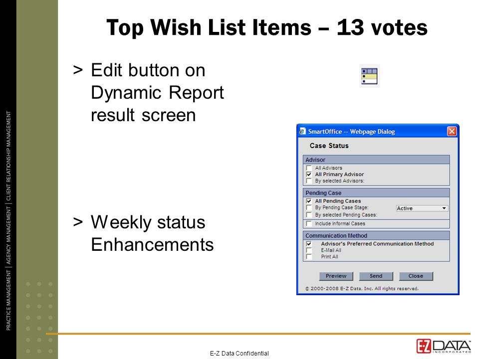 E-Z Data Confidential Top Wish List Items – 13 votes >Edit button on Dynamic Report result screen >Weekly status Enhancements