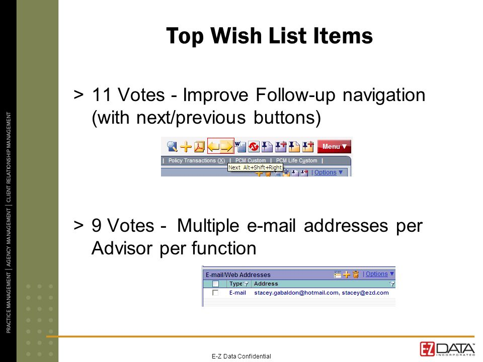 E-Z Data Confidential Top Wish List Items >11 Votes - Improve Follow-up navigation (with next/previous buttons) >9 Votes - Multiple  addresses per Advisor per function