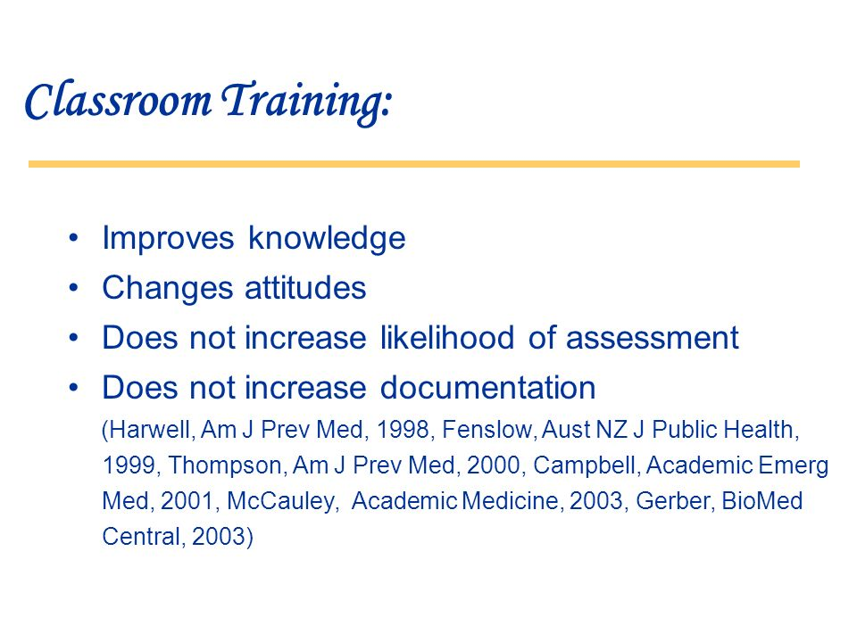 Classroom Training: Improves knowledge Changes attitudes Does not increase likelihood of assessment Does not increase documentation (Harwell, Am J Prev Med, 1998, Fenslow, Aust NZ J Public Health, 1999, Thompson, Am J Prev Med, 2000, Campbell, Academic Emerg Med, 2001, McCauley, Academic Medicine, 2003, Gerber, BioMed Central, 2003)