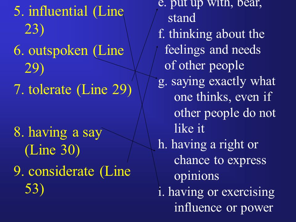 5. influential (Line 23) 6. outspoken (Line 29) 7.