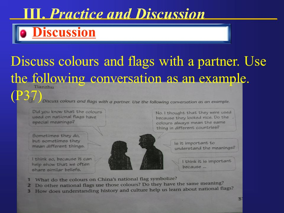 Discussion Discuss colours and flags with a partner.