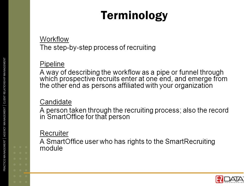 Terminology Workflow The step-by-step process of recruiting Pipeline A way of describing the workflow as a pipe or funnel through which prospective recruits enter at one end, and emerge from the other end as persons affiliated with your organization Candidate A person taken through the recruiting process; also the record in SmartOffice for that person Recruiter A SmartOffice user who has rights to the SmartRecruiting module
