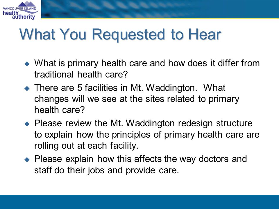 What You Requested to Hear What is primary health care and how does it differ from traditional health care.