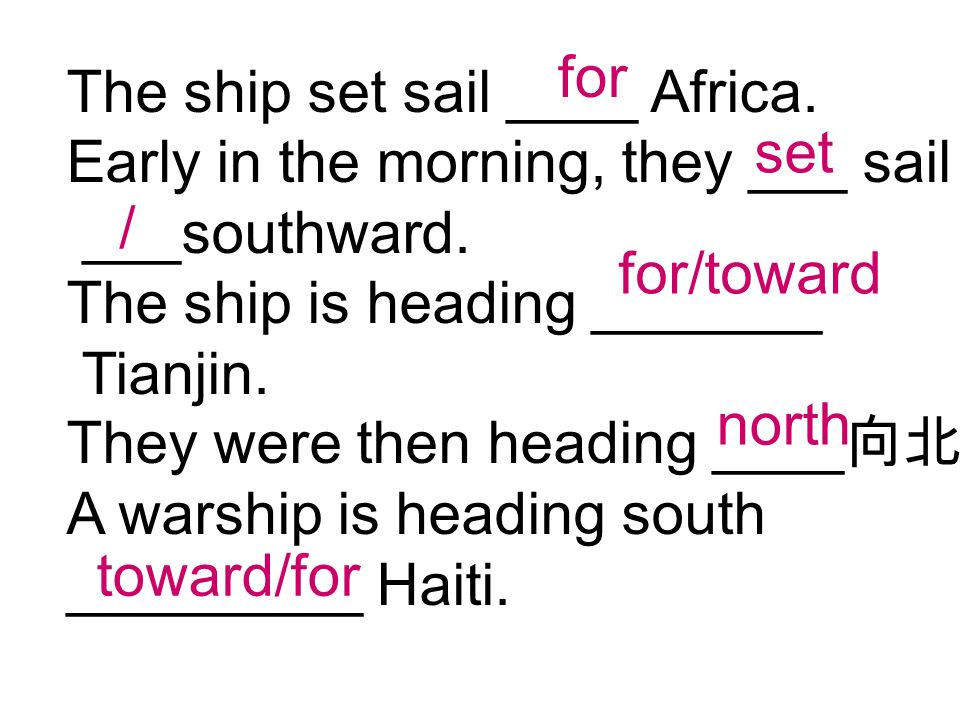 The ship set sail ____ Africa. Early in the morning, they ___ sail ___southward.