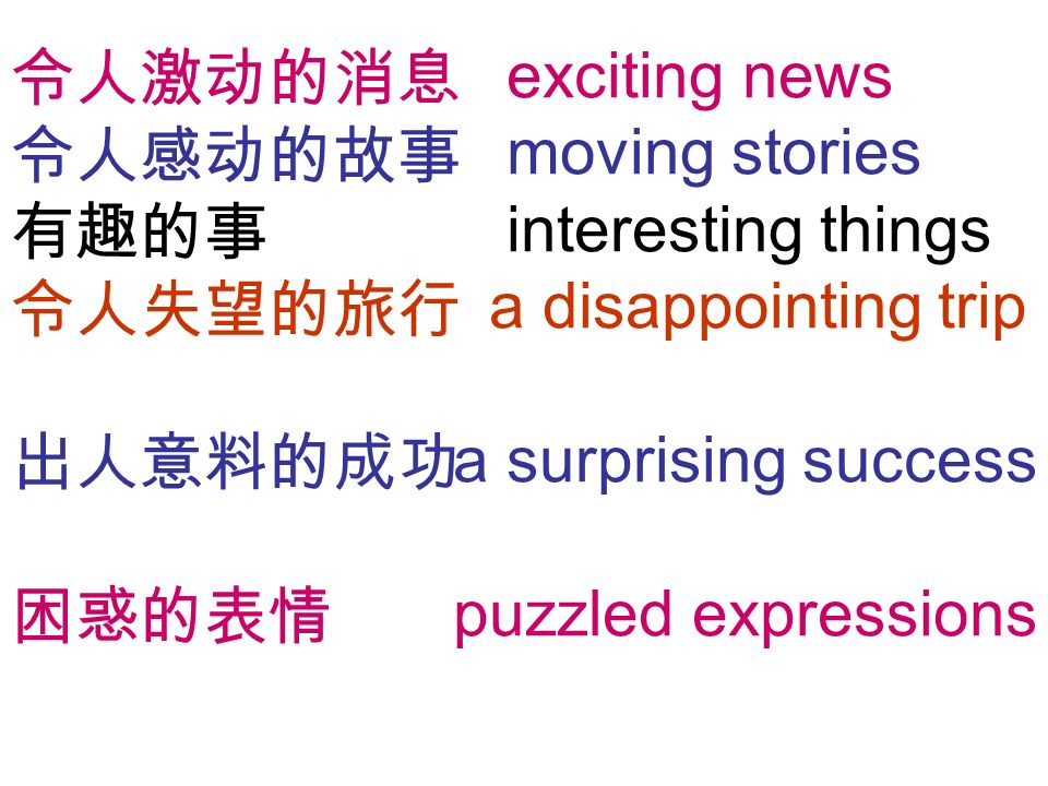 exciting news moving stories interesting things a disappointing trip a surprising success puzzled expressions