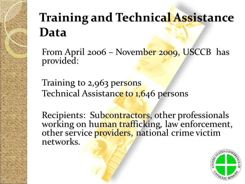 Training and Technical Assistance Data From April 2006 – November 2009, USCCB has provided: Training to 2,963 persons Technical Assistance to 1,646 persons Recipients: Subcontractors, other professionals working on human trafficking, law enforcement, other service providers, national crime victim networks.