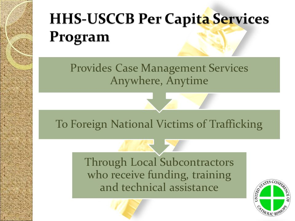 Through Local Subcontractors who receive funding, training and technical assistance To Foreign National Victims of Trafficking Provides Case Management Services Anywhere, Anytime HHS-USCCB Per Capita Services Program