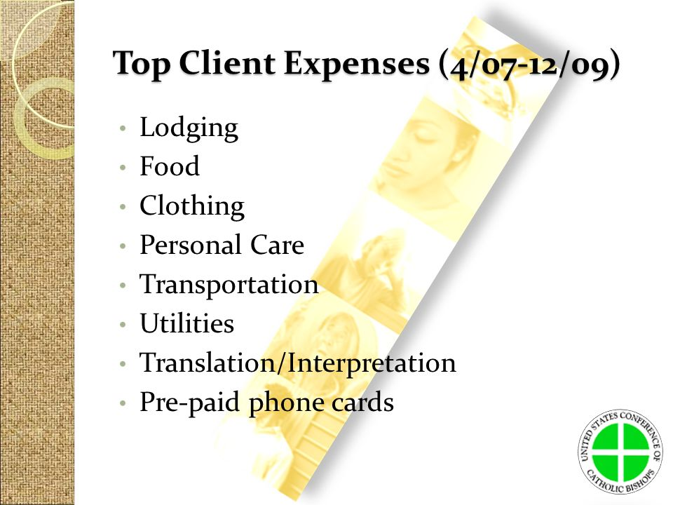 Top Client Expenses (4/07-12/09) Lodging Food Clothing Personal Care Transportation Utilities Translation/Interpretation Pre-paid phone cards