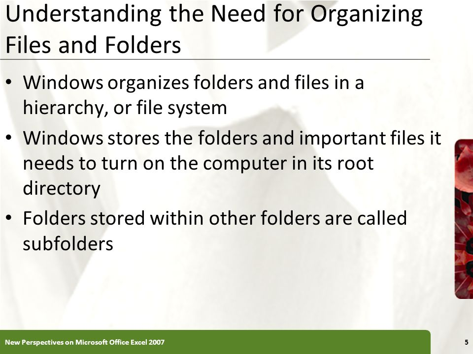 XP Understanding the Need for Organizing Files and Folders Windows organizes folders and files in a hierarchy, or file system Windows stores the folders and important files it needs to turn on the computer in its root directory Folders stored within other folders are called subfolders 5New Perspectives on Microsoft Office Excel 2007