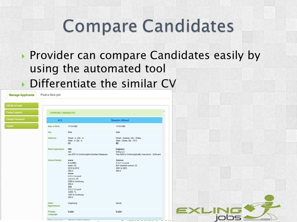 Provider can compare Candidates easily by using the automated tool Differentiate the similar CV