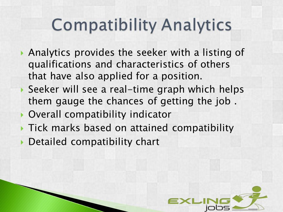 Analytics provides the seeker with a listing of qualifications and characteristics of others that have also applied for a position.