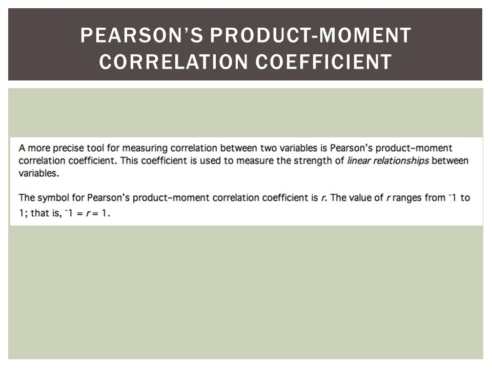 PEARSONS PRODUCT-MOMENT CORRELATION COEFFICIENT