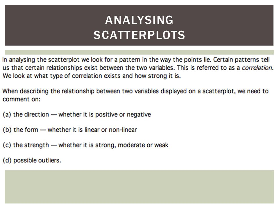 ANALYSING SCATTERPLOTS