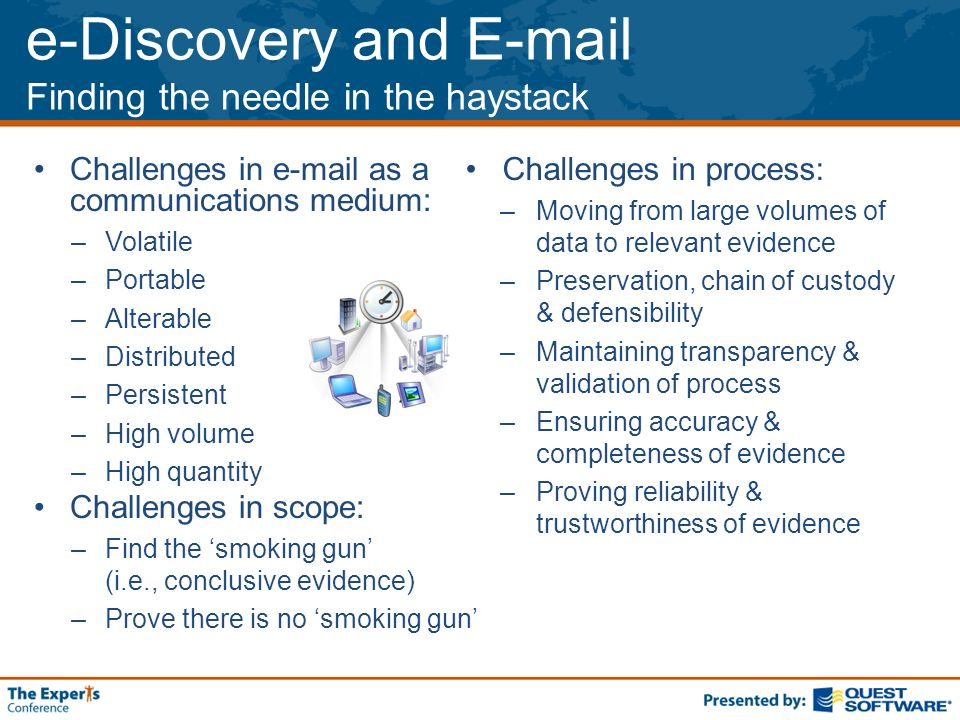 e-Discovery and E-mail Finding the needle in the haystack Challenges in e-mail as a communications medium: –Volatile –Portable –Alterable –Distributed –Persistent –High volume –High quantity Challenges in scope: –Find the smoking gun (i.e., conclusive evidence) –Prove there is no smoking gun Challenges in process: –Moving from large volumes of data to relevant evidence –Preservation, chain of custody & defensibility –Maintaining transparency & validation of process –Ensuring accuracy & completeness of evidence –Proving reliability & trustworthiness of evidence