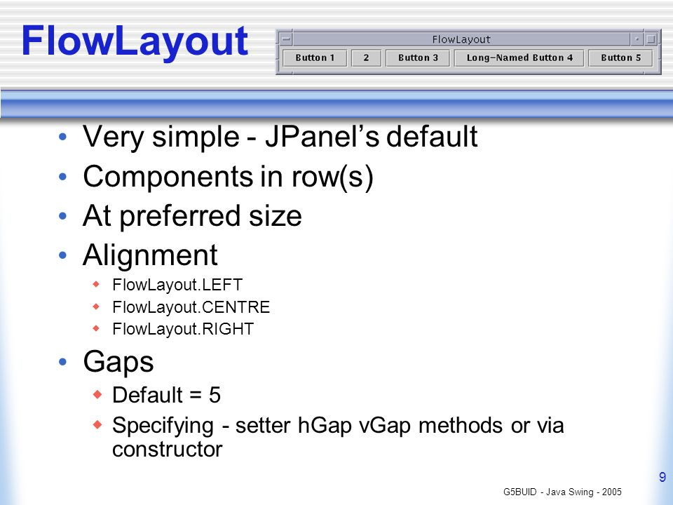 G5BUID - Java Swing FlowLayout Very simple - JPanels default Components in row(s) At preferred size Alignment FlowLayout.LEFT FlowLayout.CENTRE FlowLayout.RIGHT Gaps Default = 5 Specifying - setter hGap vGap methods or via constructor