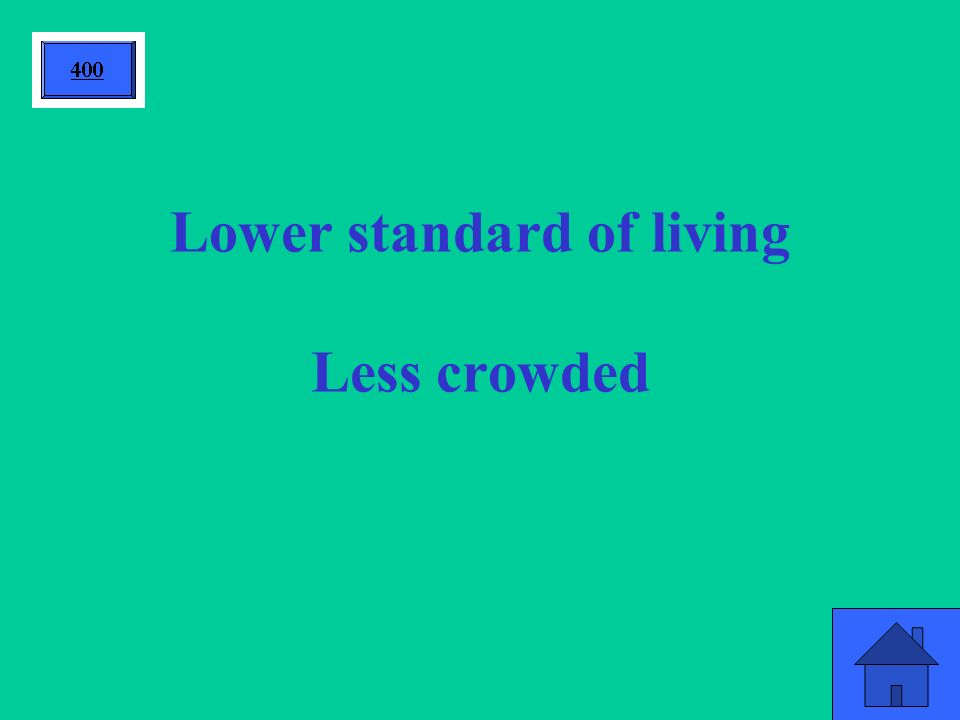 Lower standard of living Less crowded