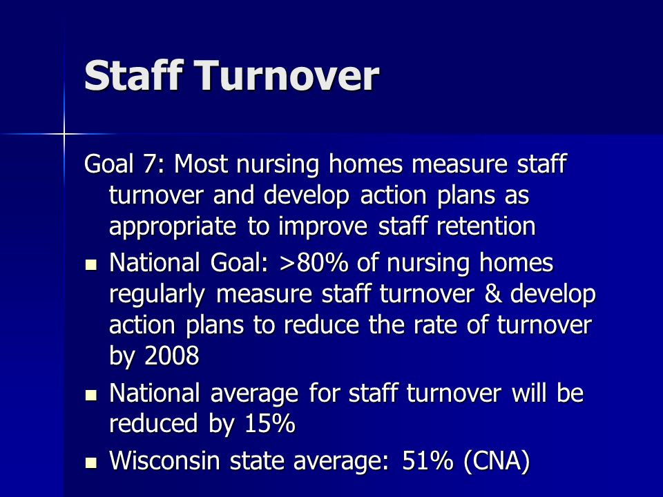 Staff Turnover Goal 7: Most nursing homes measure staff turnover and develop action plans as appropriate to improve staff retention National Goal: >80% of nursing homes regularly measure staff turnover & develop action plans to reduce the rate of turnover by 2008 National Goal: >80% of nursing homes regularly measure staff turnover & develop action plans to reduce the rate of turnover by 2008 National average for staff turnover will be reduced by 15% National average for staff turnover will be reduced by 15% Wisconsin state average: 51% (CNA) Wisconsin state average: 51% (CNA)