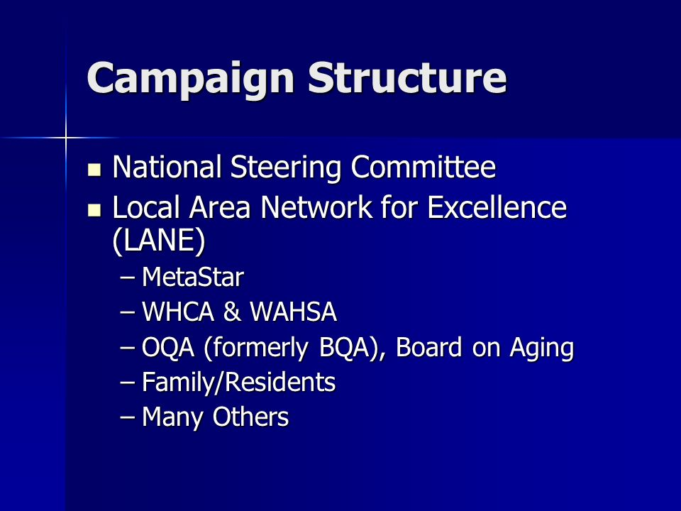 Campaign Structure National Steering Committee National Steering Committee Local Area Network for Excellence (LANE) Local Area Network for Excellence (LANE) –MetaStar –WHCA & WAHSA –OQA (formerly BQA), Board on Aging –Family/Residents –Many Others