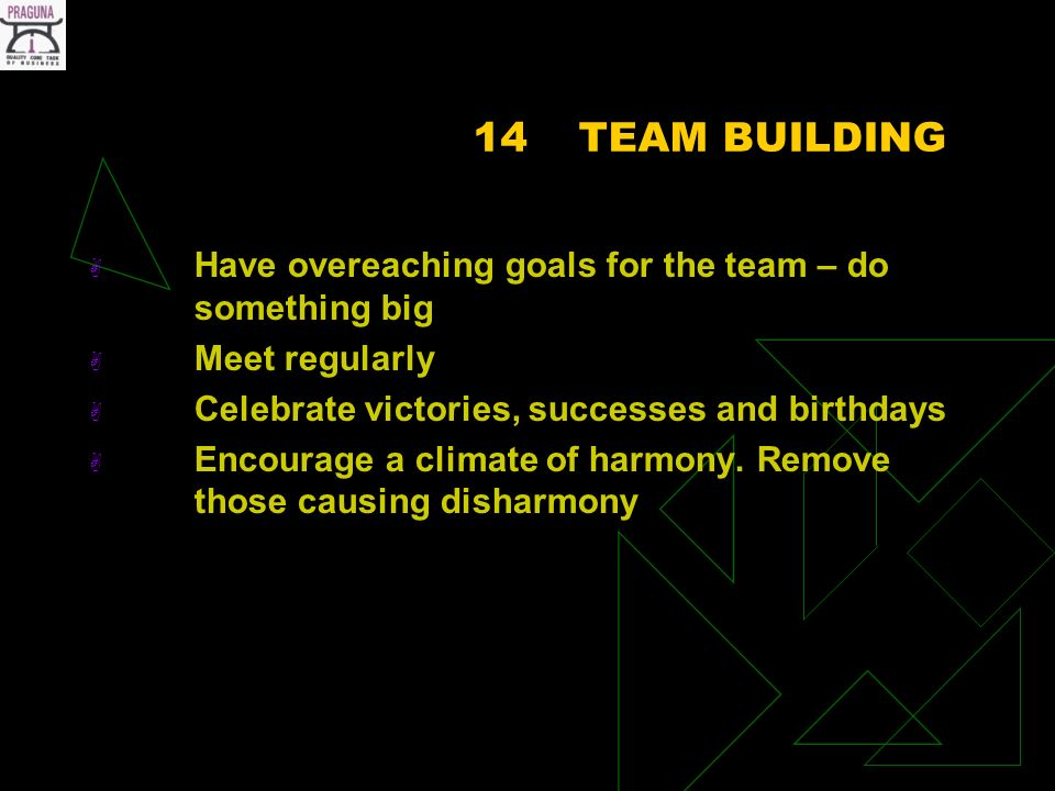 14TEAM BUILDING Have overeaching goals for the team – do something big Meet regularly Celebrate victories, successes and birthdays Encourage a climate of harmony.