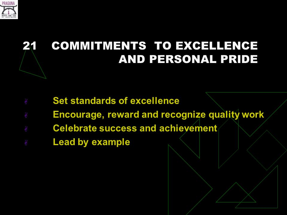 21COMMITMENTS TO EXCELLENCE AND PERSONAL PRIDE Set standards of excellence Encourage, reward and recognize quality work Celebrate success and achievement Lead by example