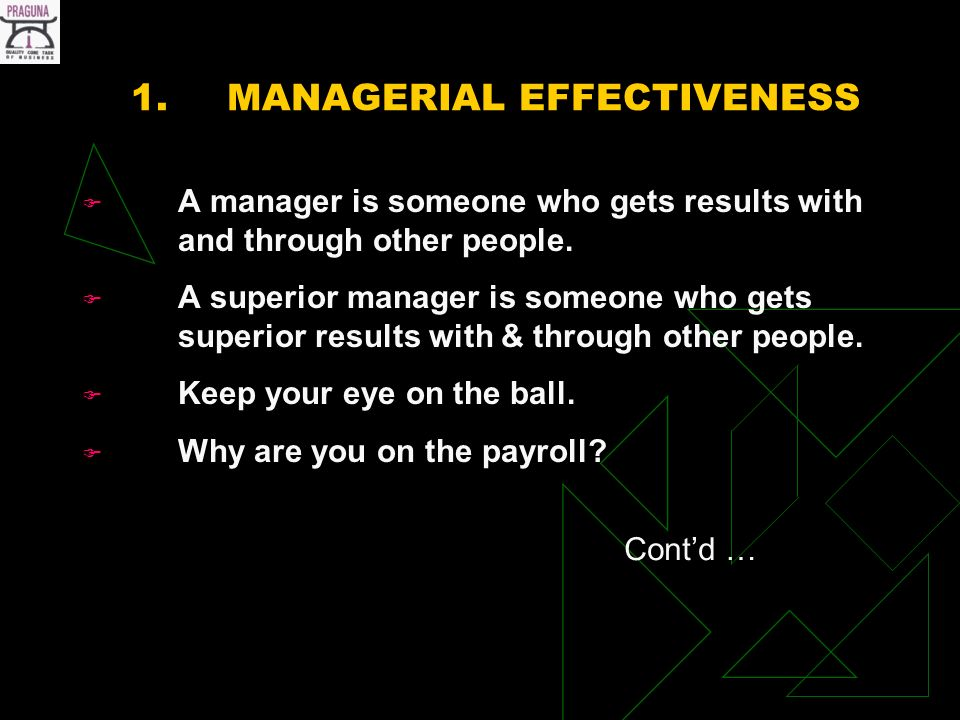1.MANAGERIAL EFFECTIVENESS A manager is someone who gets results with and through other people.