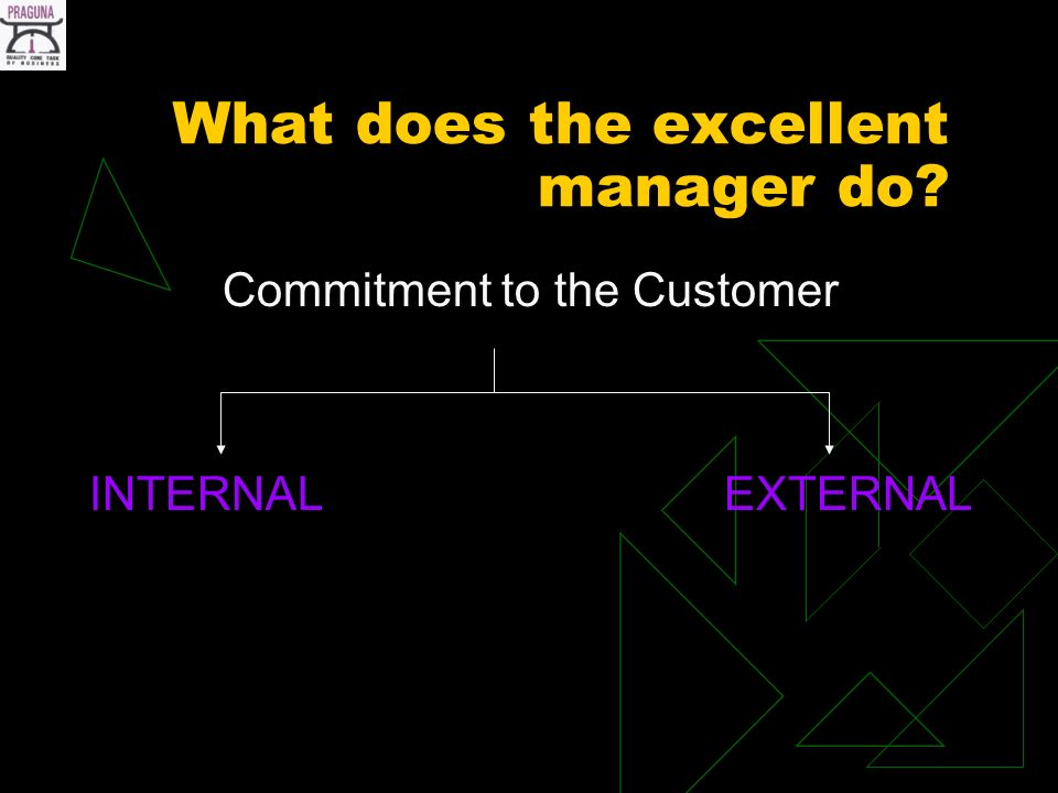 What does the excellent manager do Commitment to the Customer INTERNAL EXTERNAL