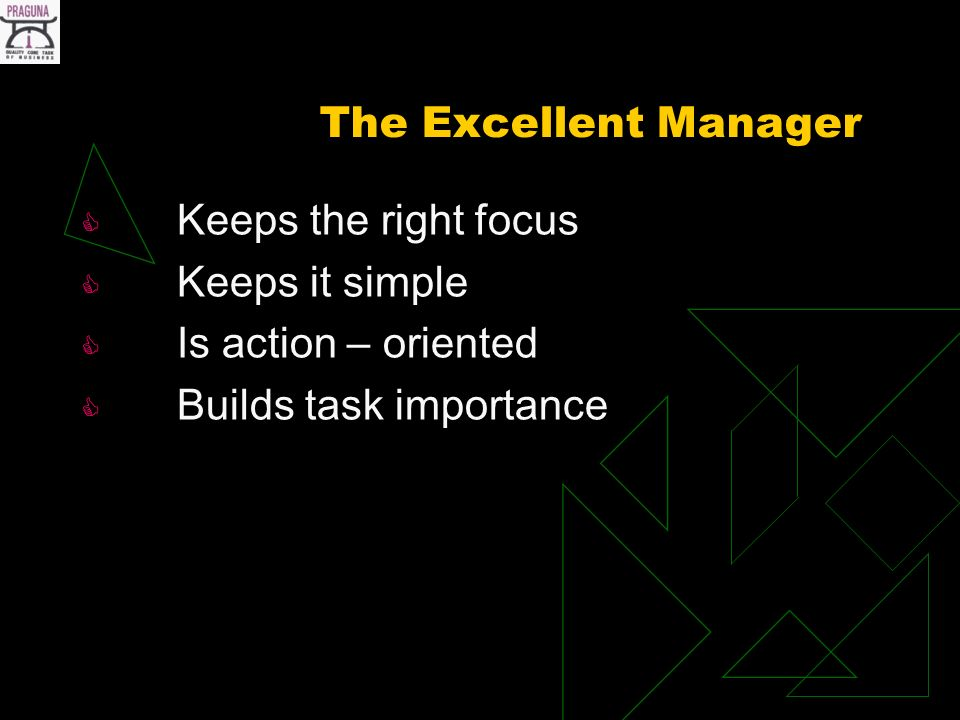 The Excellent Manager Keeps the right focus Keeps it simple Is action – oriented Builds task importance