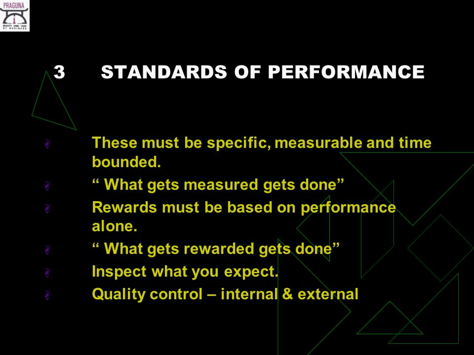 3STANDARDS OF PERFORMANCE These must be specific, measurable and time bounded.