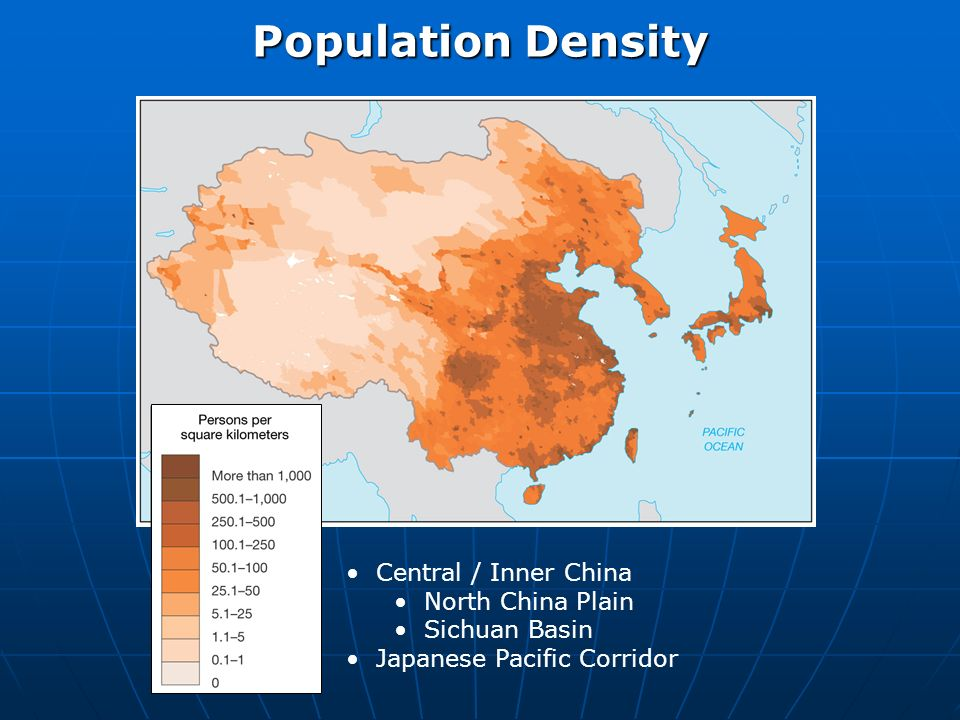 Central / Inner China North China Plain Sichuan Basin Japanese Pacific Corridor Population Density